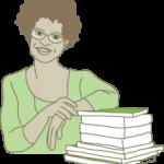 מורה עם ערימת ספרים